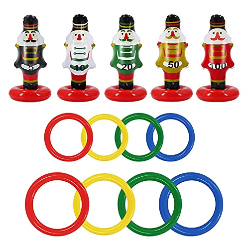A/A 15-piece Christmas Nutcracker Ring Toss Christmas Party Game Toys Inflatable Ring Toss Kids Family Christmas Party Supplies Decoration Indoor Outdoor Games