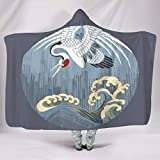 O5KFD&8 - Manta de murciélago con Motivos Estampados y Motivos Chinos para el Invierno, Invierno, Peluche, Blanco, 150x101cm