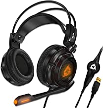 KLIM Puma - USB Gamer Headset with Mic - 7.1 Surround Sound Audio - Integrated Vibrations - Perfect for PC and PS4 Gaming - New 2021 Version - Black