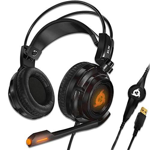 KLIM Puma - Micro Gamer Headset - 7.1 Surround-Sound - Hochqualitativer Klang - PS5 Headset mit Integrierte Vibrationen - Perfekt für PC Gaming, PS4, PS5 - Schwarz [ Neue 2021 Version ]