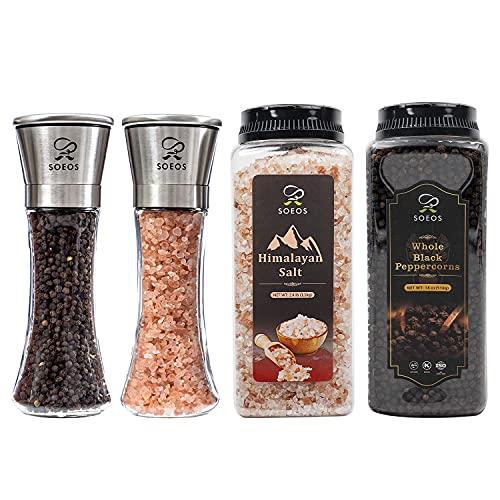 Soeos Whole Black Peppercorns 18OZ + Himalayan Salt 38oz + Grinders 2 Packs.