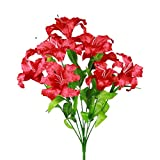 SN Decor Artificial Flowers Tiger Lily Fake Flowers for Wedding Home Party Garden Shop Office Decoration 1 Bouquet with 9 Heads Stargazer Lilies (Red)