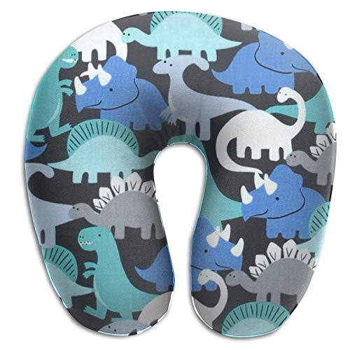 Hdadwy Dino Mites Retro 100% Memory Foam Travel Neck Pillow for Airplanes and Travel, 360 Degree Support Backed