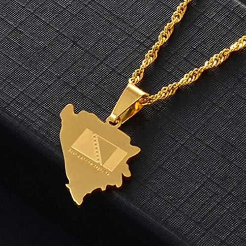 FDDSSYX Collar De Mapa,Creatividad Bosnia Y Herzegovina Mapa Colgante Collares para Las Niñas Oro Color Encanto Bosna Hercegovina Mapas Joyas, Color Oro, 60 Cm De Cadena Delgada