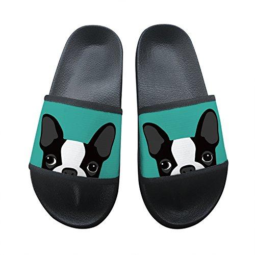Boston Terrier Summer Slippers Non-Slip Beach Sandals House Shoes Soft Floor Slipper Open Toe 8 B(M) US