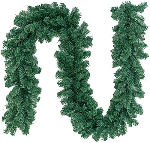 Max4out 8.8 ft Christmas Garland Artificial Spruce Decoration, Xmas Pine Garland for Fireplace, Mantel, Stairs Railings and Doorway (2 pcs)