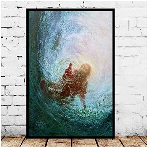 LLXHGJesus Christus Die Hand Gottes Leinwand Poster Und Drucke Dekorative Wandkunst Bilder Gemälde Für Wohnzimmer Home Decoration-60X80Cm Ungerahmt