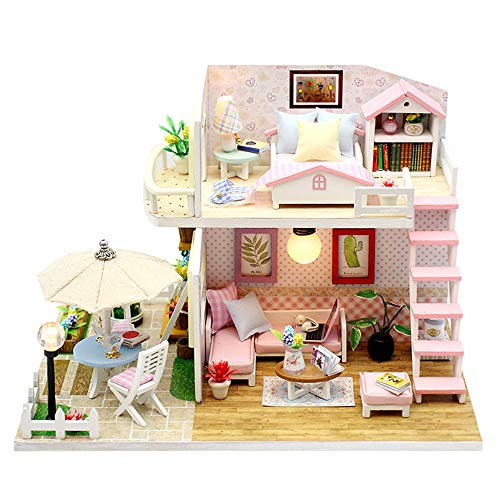 TODY Pink DIY Miniature Dollhouse Kit for Adults with Furniture Romantic Artwork Gift Mini Wooden Dollhouse with Led Light Sweet Cute Girls Toy Birthday Manual Educational Kit
