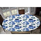 Watercolor Elastic Polyester Fitted Table Cover,Hand Drawn Roses and Leaves Abstract Floral Blooming Nature Theme Decorative Oblong/Oval Elastic Fitted Tablecloth,Fits Tables up to 48