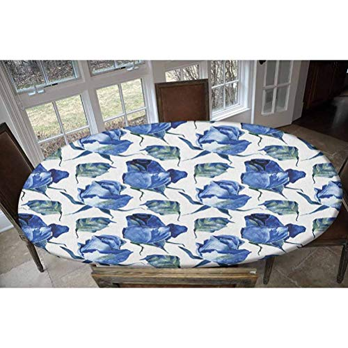 Watercolor Elastic Polyester Fitted Table Cover,Hand Drawn Roses and Leaves Abstract Floral Blooming Nature Theme Decorative Oblong/Oval Elastic Fitted Tablecloth,Fits Tables up to 48' W x 68' L