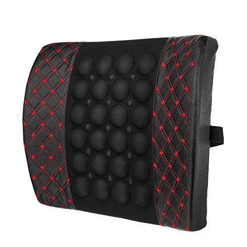 Wenzhihua Back Cushion 12V Electric PU Leather Lumbar Massager Pad Pillow Waist Support Car Home Office Heated Cushion Lumbar Cushion Back Friend (Color : Red, Size : One size)
