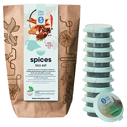 Shuyao Spices Tea Set 15x loser naturreiner Tee mit Gewürzen (45g)