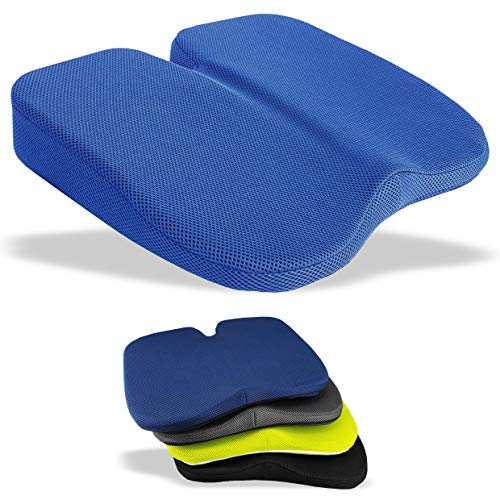 Medipaq Freedom Wedge Cushion - Great for Coccyx Relief, Lumbar Support, Back Pain in The Car or at Home (Navy Blue 3-D Mesh)