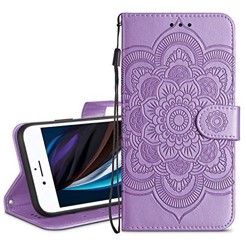 HianDier Wallet Case for iPhone SE 2020 8 7 Card Holder Case Kickstand Flip Cover Embossed Mandala Flower Lanyard Protective Soft PU Leather Cover Case for iPhone SE 2020 8 7 6 6s, Flower Purple