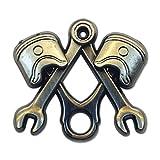 Wrench Piston Square & Compass Masonic Lapel Pin - [Antique Silver][1'' Wide]