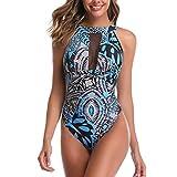 Bañador de Monocini para Mujer Trajes de baño de una Pieza (Blue-Line XL)