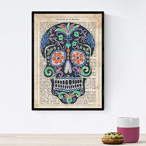 Nacnic Poster de Calavera Mexicana Negra. Láminas de Calaveras para diseño de Interiores. Decoración de hogar. Tamaño A4 con Marco
