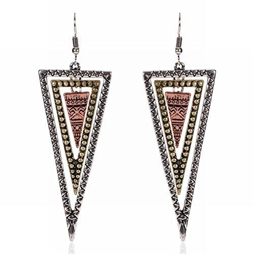 WANGLETA Pendientes de gota de perno regalo idea para mujer oreja geometría arriba abajo triángulo exagerado pendientes
