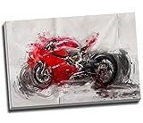 Kunstdruck auf Leinwand mit großem Ducati-Motorrad,