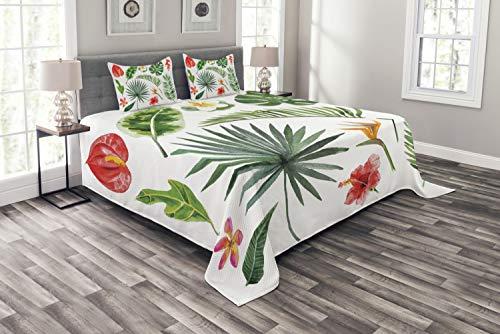 ABAKUHAUS Aloha Tagesdecke Set, Üppiger Dschungel Regenwald, Set mit Kissenbezügen Maschienenwaschbar, für Doppelbetten 220 x 220 cm, Multicolor