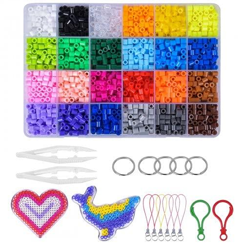 Pinsheng 5 mm 24 Colores Cuentas para Planchar, 4800 Piezas Planchado Perler Fusible Beads Kit con Accesorios Mini Plásticos Cuentas Abalorios para Niños
