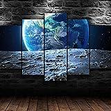 Tierra luna espacio lienzo natural arte de pared 5 piezas de lienzo impreso pintura de póster modular de alta definición moderna impresión en lienzo para decoración de sala de estar 200 × 100Cm