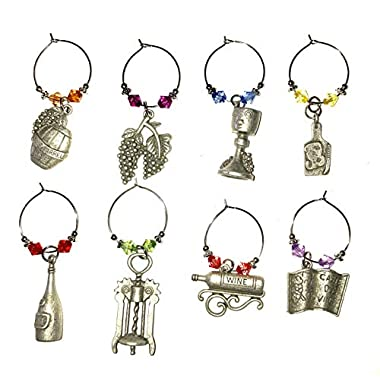 Wine charm rings for wine glass set of 8. Gift set for wine lover. (A-4.5 oz)