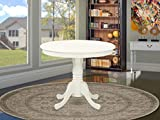 East West Furniture ANT-LWH-TP Amazing Dinner Table - Linen White Table Top Surface and Linen White Finish legs Solid Wood Frame Dining Table