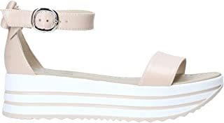 Sandali Scarpe da Donna Bassi NeroGiardini E012591D Casual estive Platform Pelle