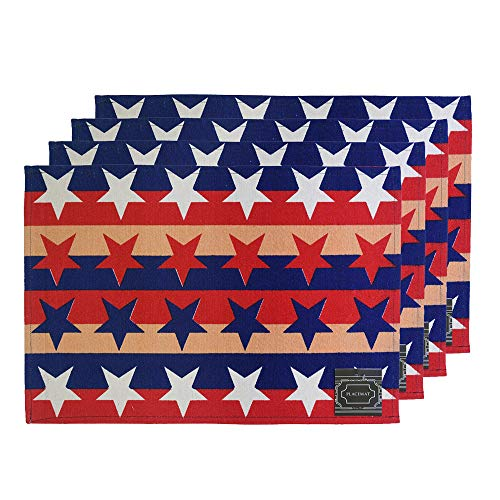 "Set of 4, Stars & Stripes American Flag Design Printed Tapestry placemats for Dining Table, Table mat for Dining Room Easy to Clean, Machine Washable Size: 13"" x 19""."