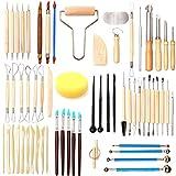 LAMPTOP 61Pcs Set de herramientas de arcilla cerámica, kits de herramientas de modelado de cerámica para esculpir arcilla, herramientas de talla de arcilla polimérica