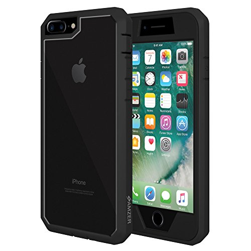 AMZER Full Body Protective Case with Built-in Screen Protector Skin for Apple iPhone 7 Plus - Black