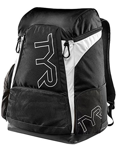 TYR Alliance 45L Backpack - Black/White + Name - Personalised Swimming Backpack