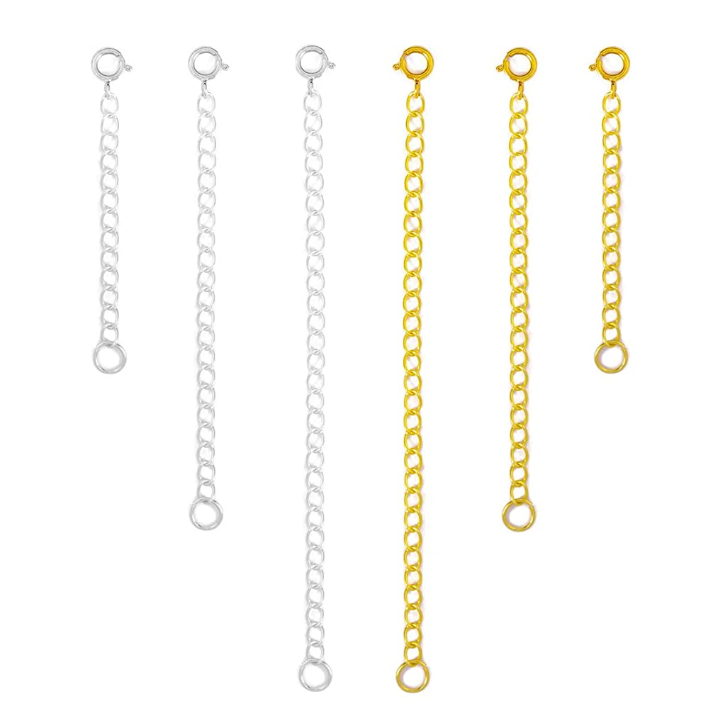Tiparts 6 pcs 925 Sterling Silver Necklace Extenders Bracelet Extenders Gold Silver Extender Chains Sets,Length: 4
