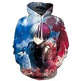 DYWLQ Anime My Hero Academia Todoroki Shoto Cosplay Disfraz Sudadera con Capucha Cosplay suéter Deportivo Casual para Hombres y mujeres-03_XL