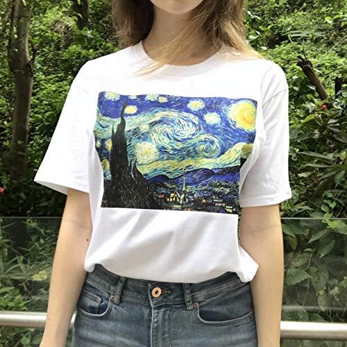 LIULINUIJ Camiseta DeVeranoMujeres Divertido Van Gogh Arte Pintura Al Óleo Noche Estrellada Tallas Grandes Casual Harajuku Camiseta De Manga Corta Camiseta Femme
