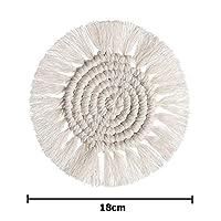 コースター クリエイティブ手織りマクラメコースターボヘミア綿ロープ編みこみのプレースマットカップパッド断熱マットノンスリップ装飾クッション (Color : C)