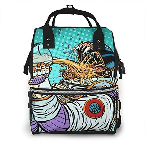 Astronaut Mutant Durst Bier Pop Art Essen Und Trinken Menschen Wickeltaschen Mode Mama Rucksack Multi Funktionen Große Kapazität Wickeltasche Wickeltasche für die Babypflege für unterwegs