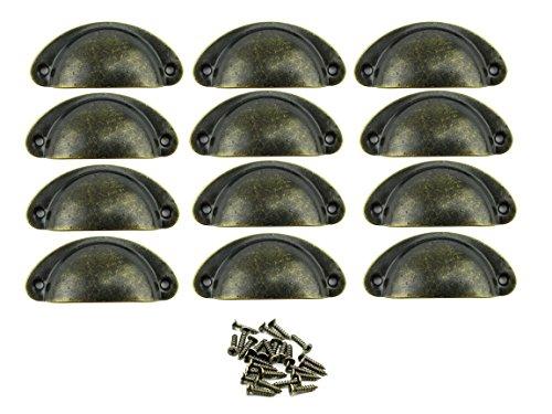 Paor 12Pcs retro muebles de muebles armarios puerta gabinete tirador tiradores y perillas Shell forma con tornillos de bronce 8 * 3 * 2 cm