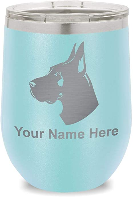 Amazon Com Wine Glass Tumbler Great Dane Dog Personalized Engraving Included Teal Glassware Drinkware