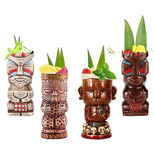 Vinbcorw Tiki Mugs 4 Tazas Tiki para cócteles, Bar Craft Juego de Vasos de cerámica Tiki novedosos cerámica con temática Hawaiana para cócteles y Fiestas, celebración de Festivales de Boda,Q10