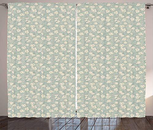 ABAKUHAUS Vino Cortinas, Modelo en Colores Pastel de la Calabaza Campo, Sala de Estar Dormitorio Cortinas Ventana Set de Dos Paños, 280 x 260 cm, Almendra Verde y Beige