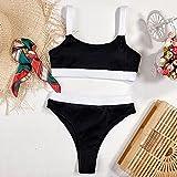 maozuzyy Bikinis Bañador Mujer Nuevas Mujeres Bikinis De Cintura Alta Trajes De Baño Acanalados Ropa De Playa Deportiva -Negro_M