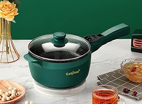Kaqiluo 1.5L Multi-Function Computer Board Electric Hot Pot, Wok, Rapid Noodles Cooker, Steak Pot, Soup Pot, Cook Rice, Travel Cooker, Delay,Keep Warm (Presented Steamer, Egg Rack) (Dark Green)