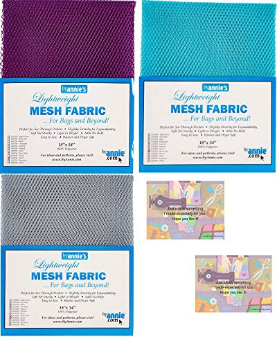 """ByAnnie's Mesh Fabric Lightweight Bundle-Pewter, Tahiti, Parrot Blue 18"""" x 54"""" with 2 Mini Gift Cards-5 Items"""