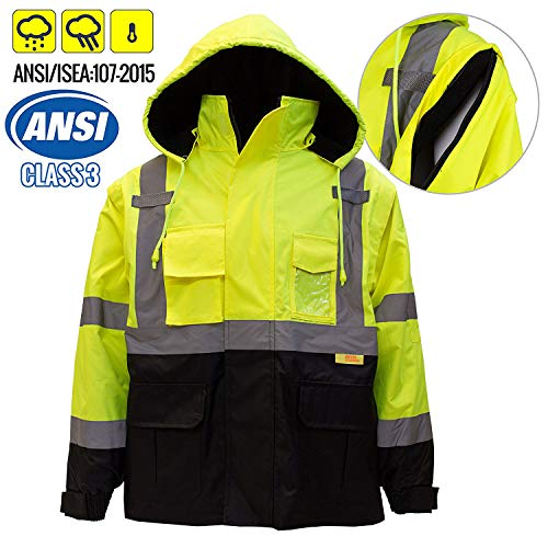 New York Hi-Viz Workwear J8512 Men's Ansi Class 3 High Visibility Safety Bomber Jacket With Zipper, PVC Pocket, Black Bottom and Detachable sleeve (5XL, Lime)