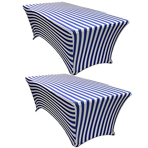 Kokomimi – Juego de 2 manteles de mesa rectangulares elásticos, funda de mesa extensible de spandex, para bodas, banquetes, salones, conferencias, rayas, azul – 8FT(244 x 76 x 76 cm)