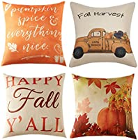 Thanksgiving Fall Pillow Covers 18x18 Inch for Fall Decor Set of 4 Autumn Harvest Pumpkin Theme Farmhouse Decorative...