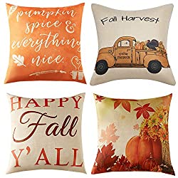 Anickal Set of 4 Thanksgiving Pillow Covers