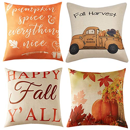Anickal Fall Pillow Covers 18x18 Inch for Fall Decor Set of 4 Autumn Harvest Pumpkin Theme Farmhouse Decorative Throw Pillow Covers for Sofa Couch Home Decoration
